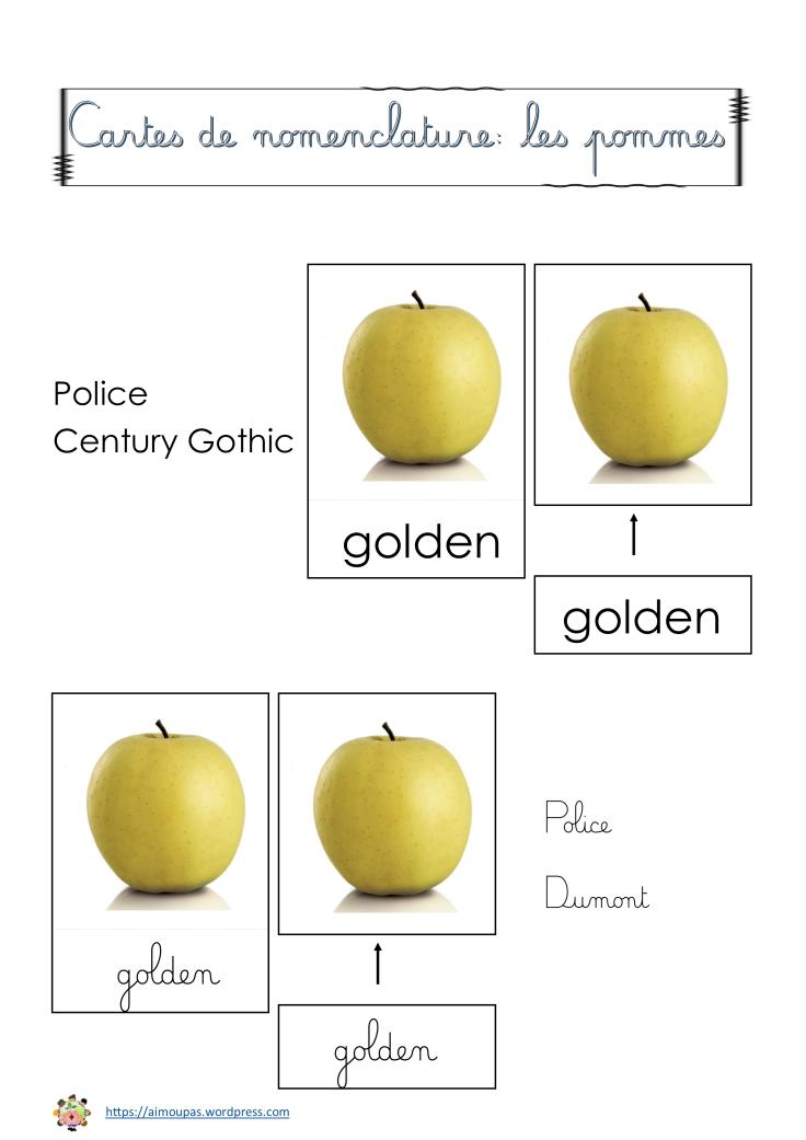 Cartes nomenclature pommes [Police Dumont]